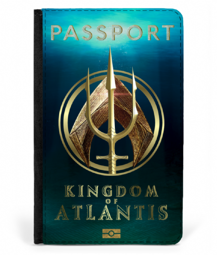 Kingdom of Atlantis Passport Cover Faux Leather Inspired by Aquaman
